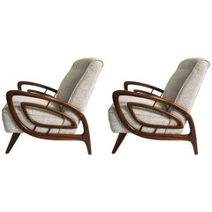 Pair of Mid-Century Australian Walnut Armchairs by Jakob Rudowski
