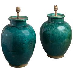 Pair of Green Glazed Bulbous Vases as Lamps