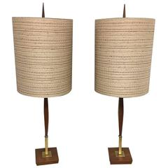 Pair of Walnut and Brass Mid-Century Modern Lamps with Original Shades