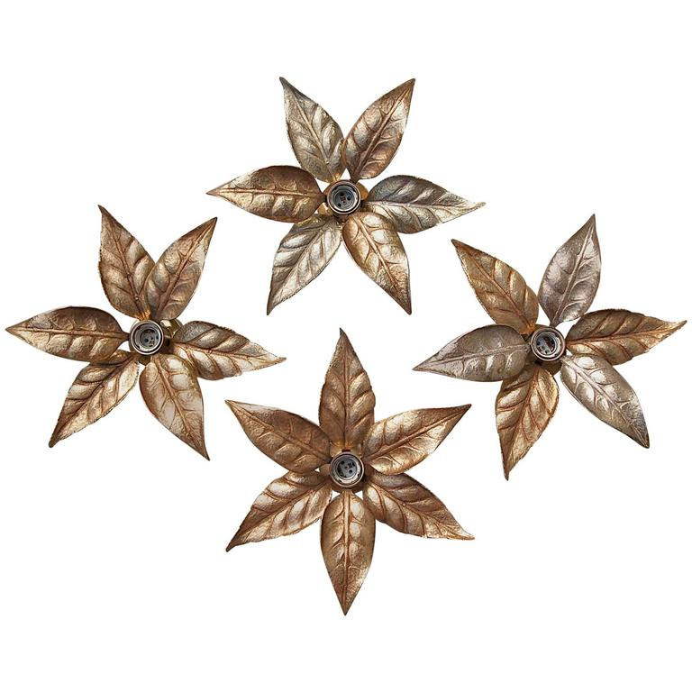 Hollywood Regency style Leaf Shaped Wall Lights by Willy Daro, circa 1970s For Sale