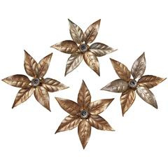 Hollywood Regency style Leaf Shaped Wall Lights by Willy Daro, circa 1970s