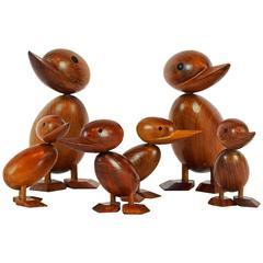 Mid-Century Modern Vintage Family of Six Handmade Teak Wood Ducks, Hans Bolling