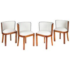 Set of Four Walnut and Leather Art Deco Chairs