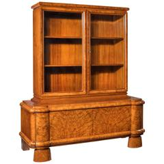 Fine Quality Walnut Art Deco Bookcase