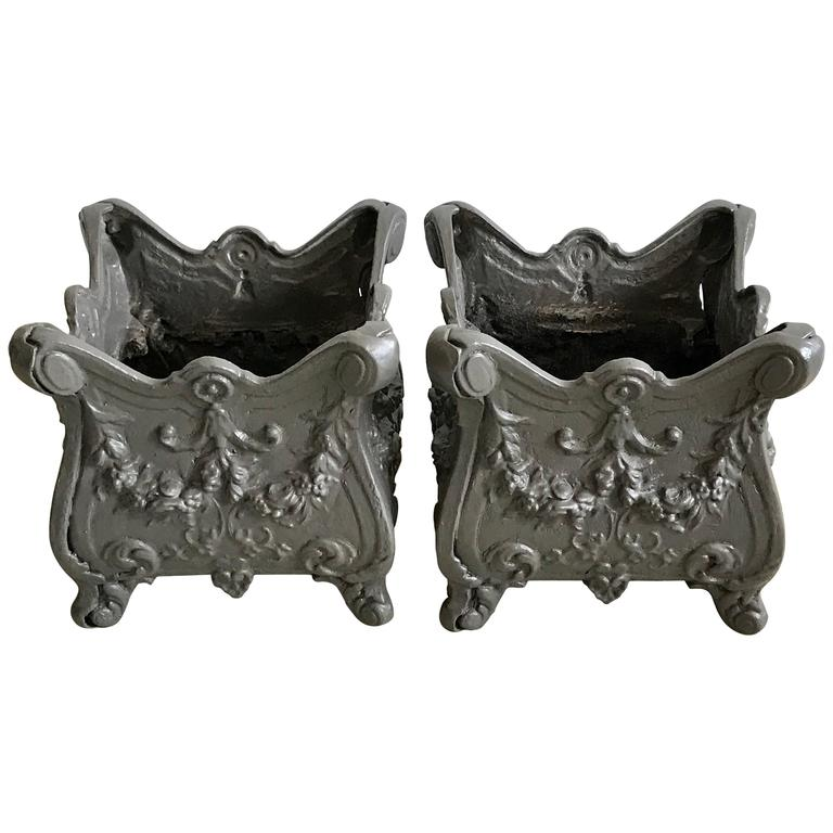 Pair of Square Cast Iron Garden Planters or Urns, early 20th Century For Sale