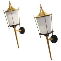 French Mid-Century Design, Two Maison Arlus Black and Brass Wall Sconces Lamps