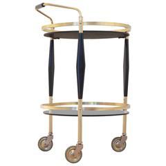 French Hollywood Rengency Design Black Brass Maison Jansen Style Serving Trolley