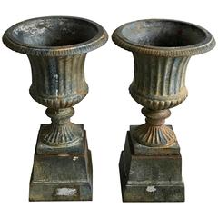 Beautiful Pair of Victorian Style Cast Iron Urns