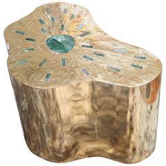 Pedestal in Brass Marquetry and Jade, Exclusive Model by Arriau, Model Cloudy
