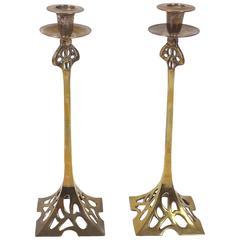 Pair of Art Nouveau 19th Century Brass Candlesticks