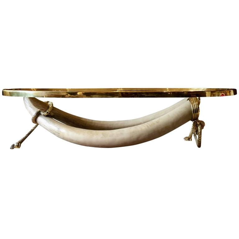 valenti madrid faux elephant tusk coffee table, 1970s for sale at