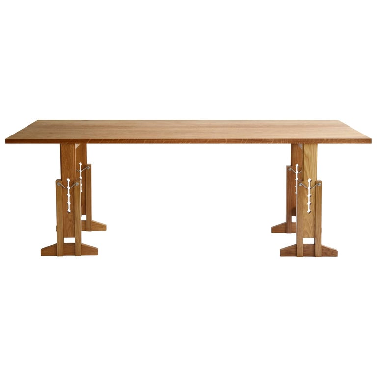 "Contemporary Trestle Table ""Work"" in Solid White Oak by Casey Lurie USA For Sale"