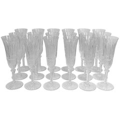 Set of 18 Saint Louis Crystal Tommy Champagne Flutes