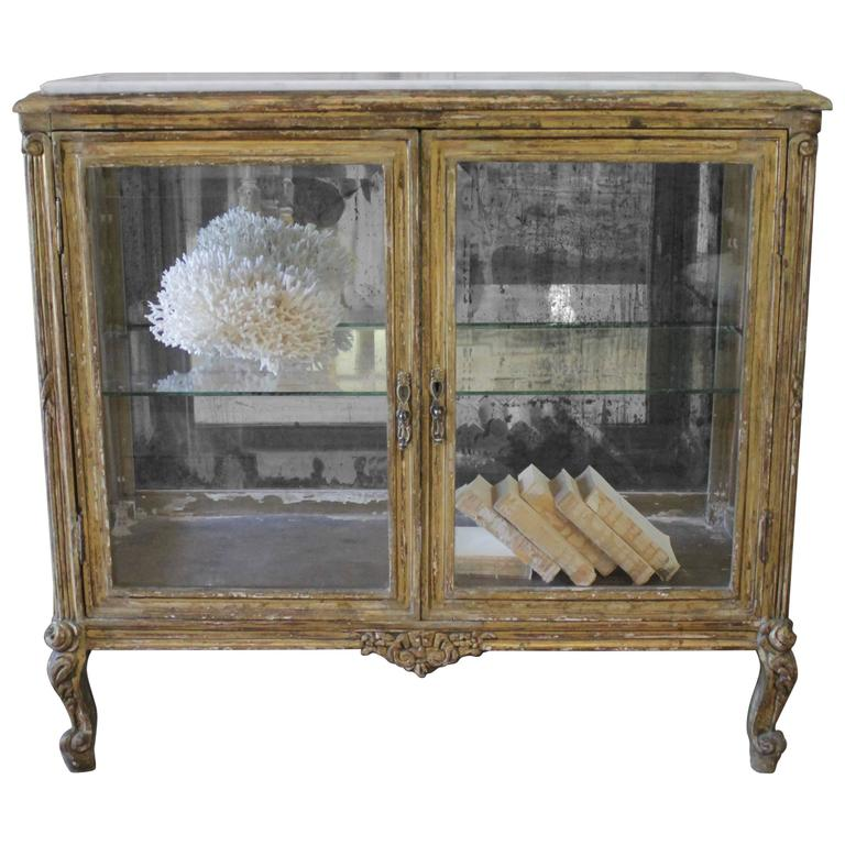 Louis XV Style Giltwood Display with Marble Top