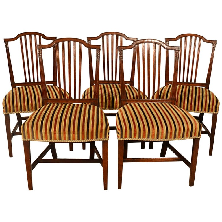 Antique, Dining Chairs, Set of Five, Mahogany, Georgian, Sheraton, English c1800
