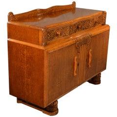 Art Deco Sideboard Cabinet Buffet Cupboard Superior Oak Top, circa 1940