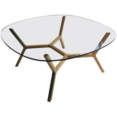 "Contemporary Coffee Table ""Stick"" Four Legs in White Oak by Casey Lurie USA"