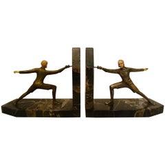 Art Deco Bronze Fencing Bookends, R. Lange, German, 1920s