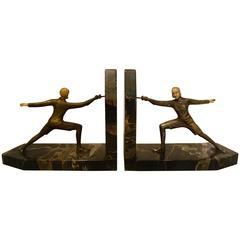 Art Deco Bronze Fencing Bookends, R. Lange, German, 1920s