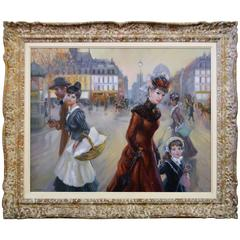 Oil on Canvas Painting of Parisian Street Scene with Mother and Child Signed