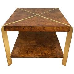 Milo Baughman Burlwood Side Table or Coffee Table