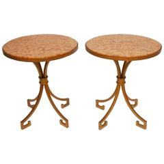 Pair of Italian Iron and Marble Gilt Gueridon Side Tables