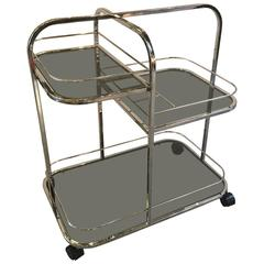 Chrome and Smoked Glass Beverage Cart