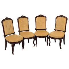 Antique Dining Chairs, Set of Four English Victorian Mahogany, circa 1890