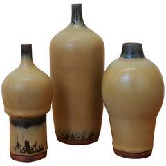 Three Vases with Yellow Ochre Glaze by Carl Harry Stålhane for Rörstrand, Sweden