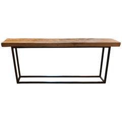 18th Century Walnut Top Console with Modern Metal Frame