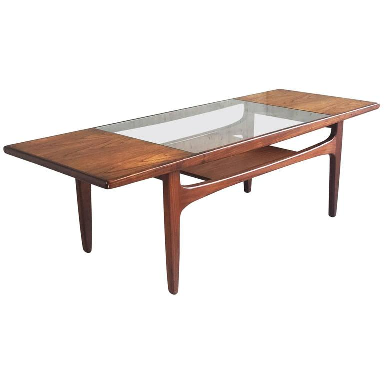 1970s g plan mid century modern teak coffee table with glass inset at 1stdibs Modern teak coffee table