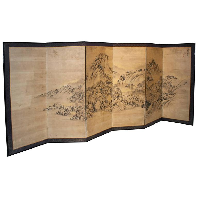 Japanese Hand-Painted Six-Panel Screen or Room Divider