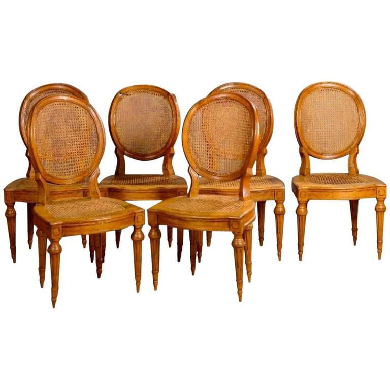 18th Century Set Of Six French Dining Chairs Louis XVI Period For Sale