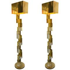 Contemporary Floor Lamps Cubic Murano Glass. Italy