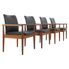 1960s Finn Juhl Model 209 Diplomat Chair in Teak and Black Leather by Cado