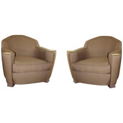Jules Leleu Elegant Pair of Chairs Linen and Brass (Inspired by)