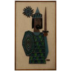 Raul Coronel 1960s Glazed Ceramic Framed Wall Art