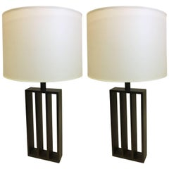 Pair of French Wrought Iron Minimalist Table Lamps in Spirit of Jacques Quinet