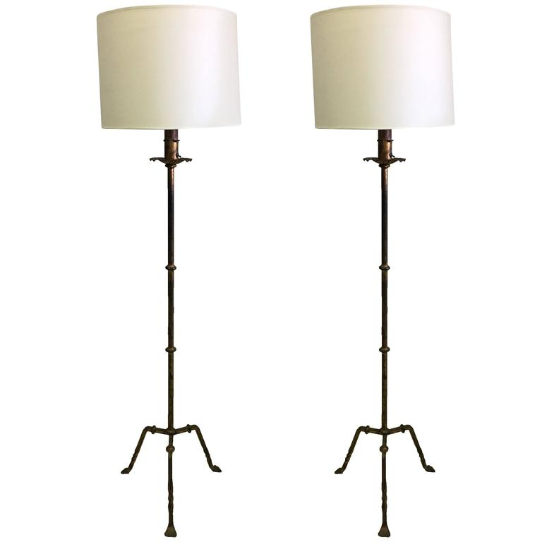 Pair of French Mid-Century Gilt Wrought Iron Floor Lamps, circa 1940 For Sale
