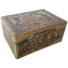 Chinese Export Silver Lacquer Tea Caddy, circa 1800