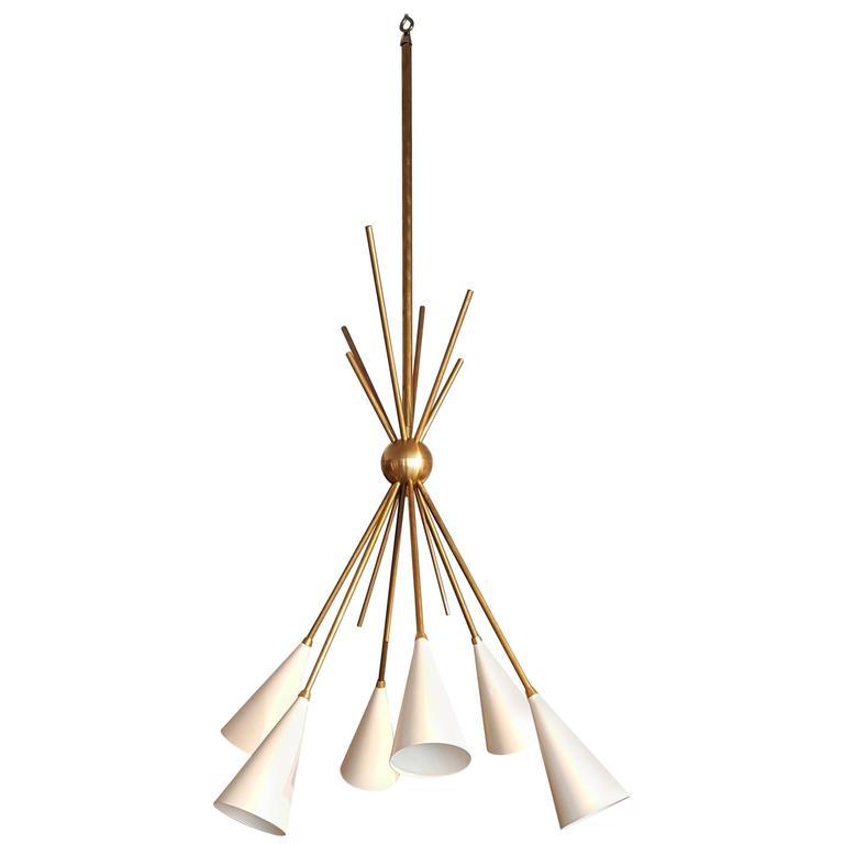 "Striking ""Bouquet"" Chandelier in Enamel and Brass by Blueprint Lighting, 2017"