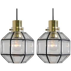 Pair of Iron and Clear Glass Pedant Lights by Glashütte, 1960