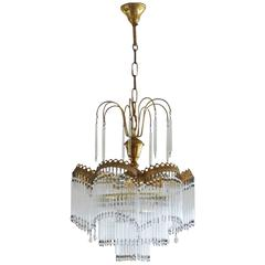 Mid-20th Century French Vintage Cascade Four-Light Chandelier with Glass Rods