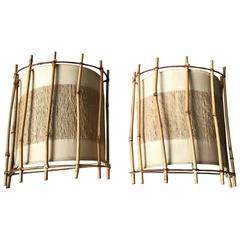 Mid-Century Organic Design Pair of Bamboo Wall Sconces Vintage Set of Lamps