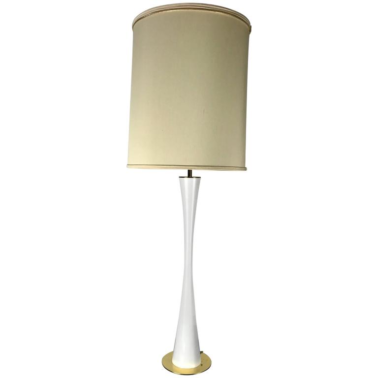 Elegant Tall White Enamel and Brass Hourglass Lamp by Stewart Ross James