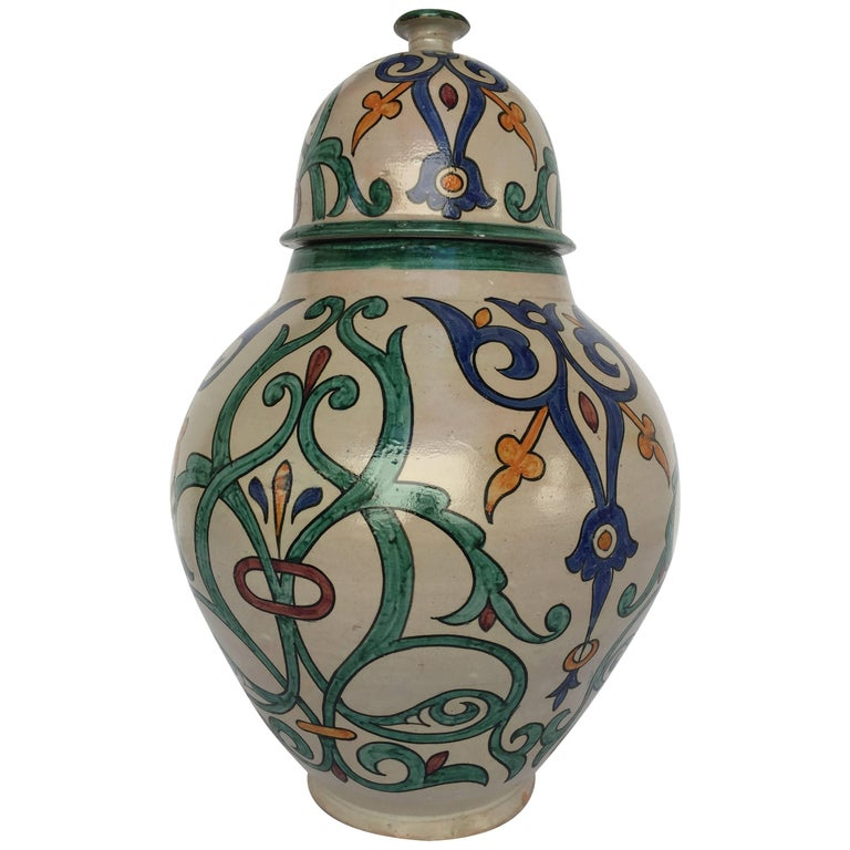 Moroccan Handcrafted Ceramic Lidded Urn from Fez with Moorish Design