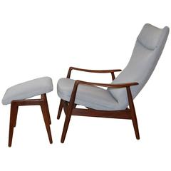 Danish Mid-Century High Back Reclining Lounge Chair and Ottoman Soren Ladefoged  sc 1 st  1stDibs : danish recliner chair - islam-shia.org