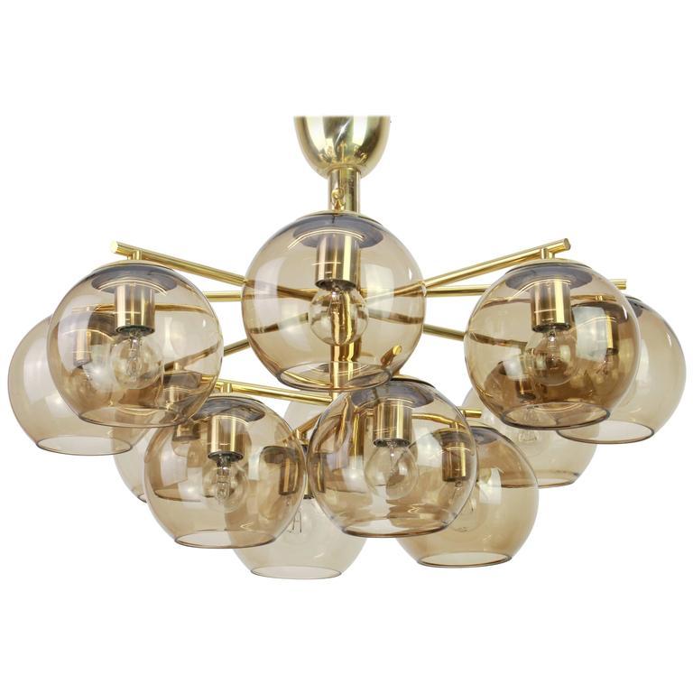 Hans-Agne Jakobsson Style Brass Chandelier