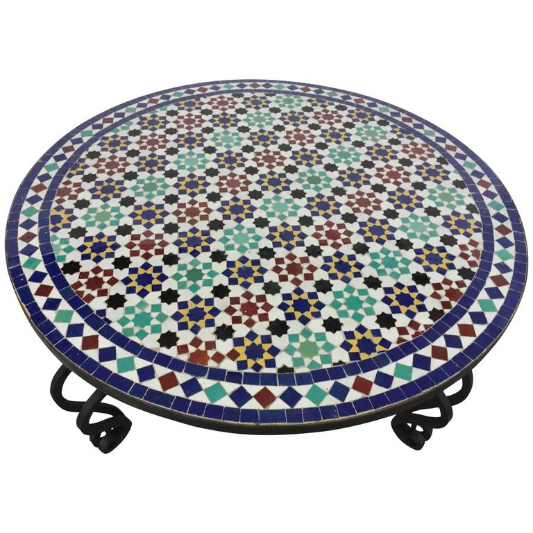Mosaic Outdoor Round Tile Coffee Table From Morocco At 1stdibs