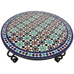 Mosaic Outdoor Round Tile Coffee Table from Morocco